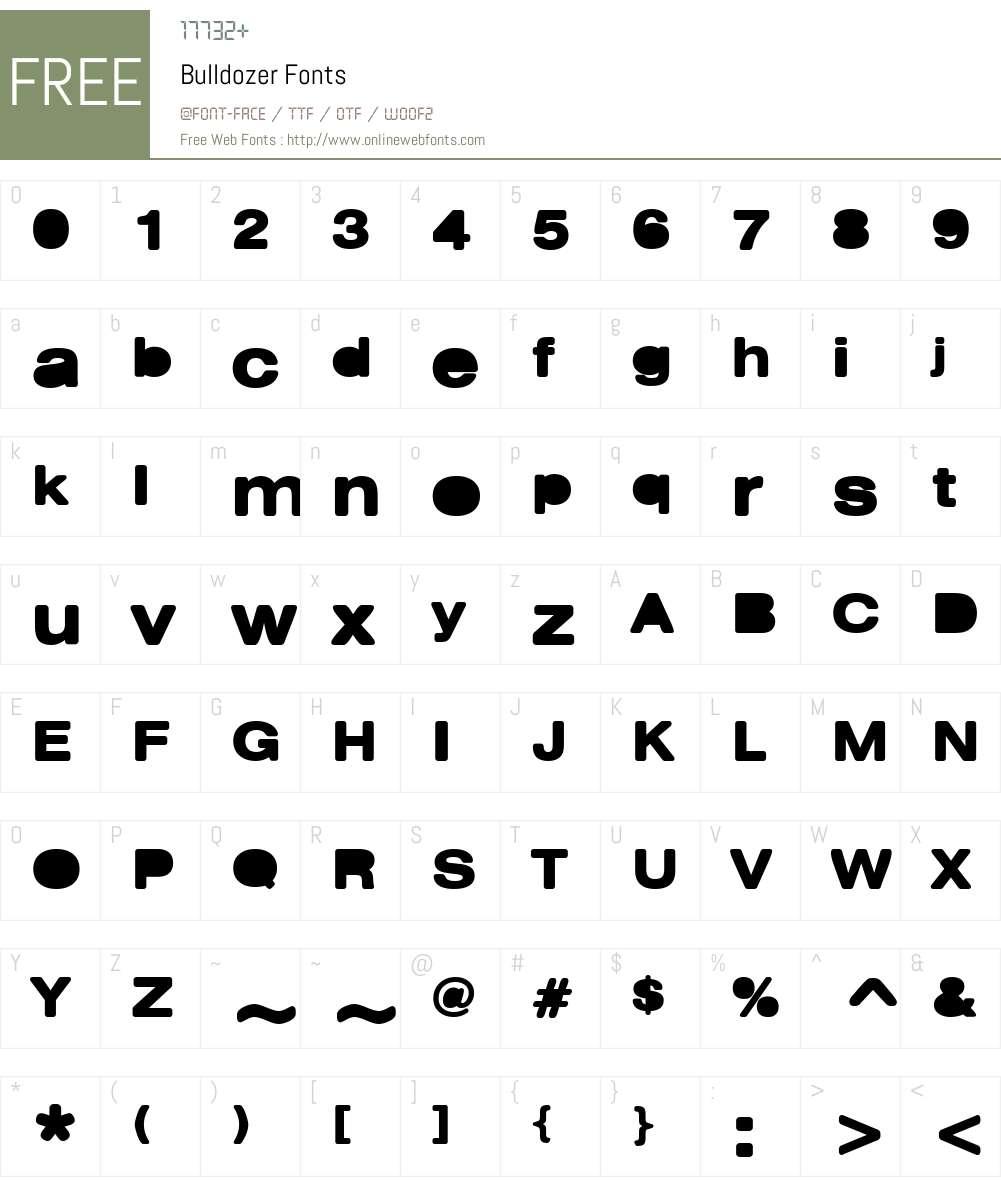 Bulldozer Font Screenshots