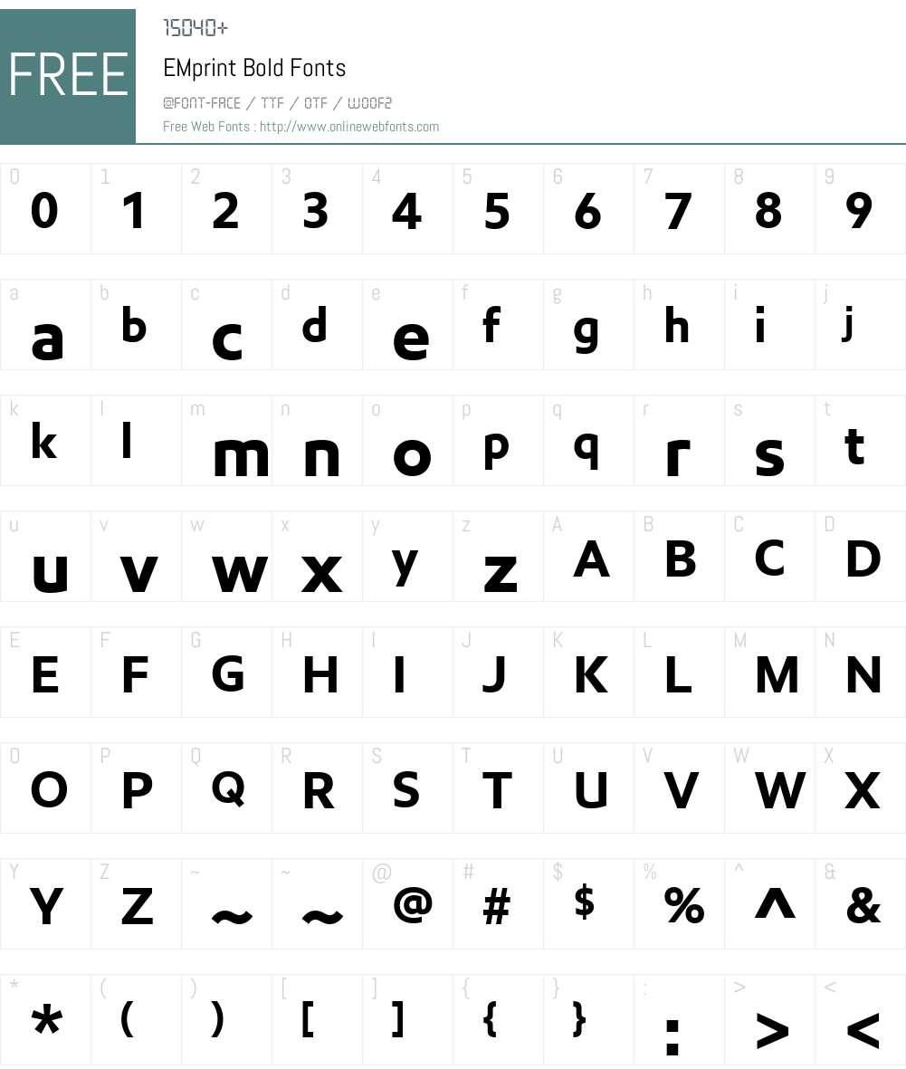 EMprint Font Screenshots