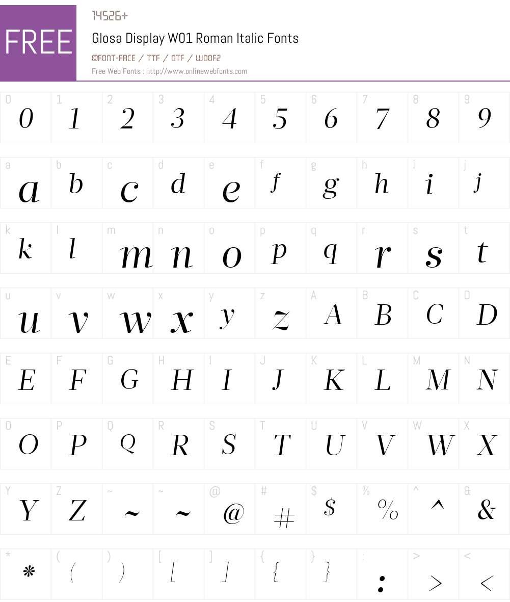 GlosaDisplayW01-RomanItalic Font Screenshots