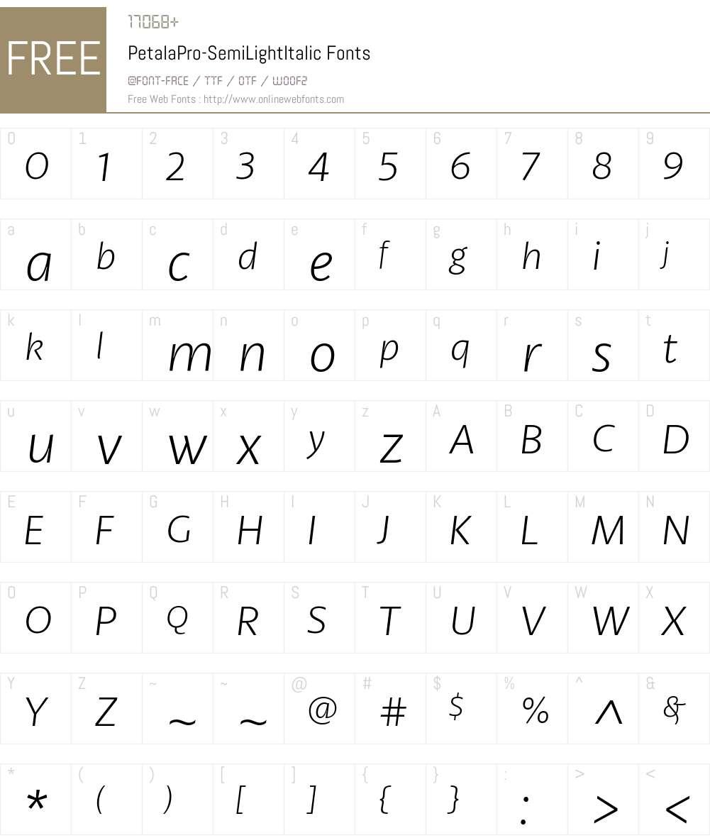 Petala Pro SemiLight Italic Font Screenshots