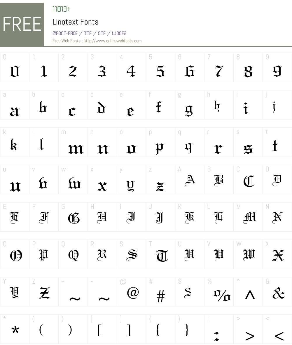 Linotext Font Screenshots