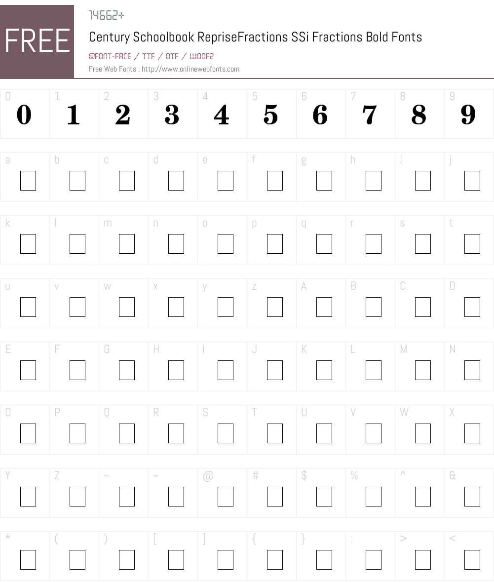 Century Schoolbook RepriseFractions SSi Font Screenshots