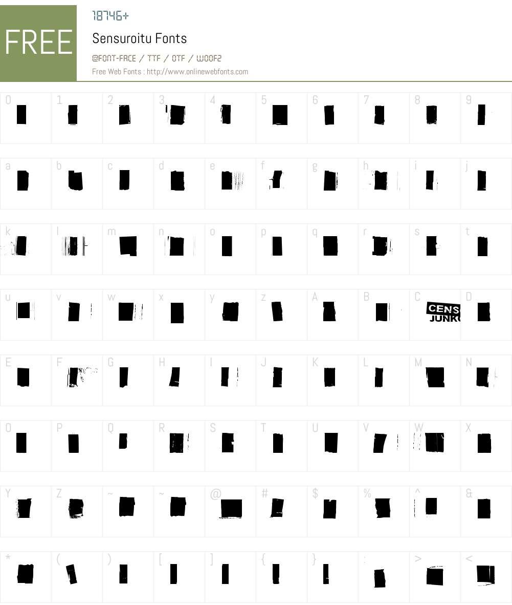 Sensuroitu Font Screenshots