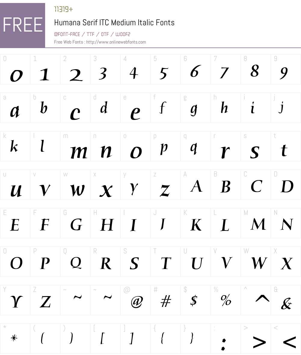Humana Serif ITC Font Screenshots