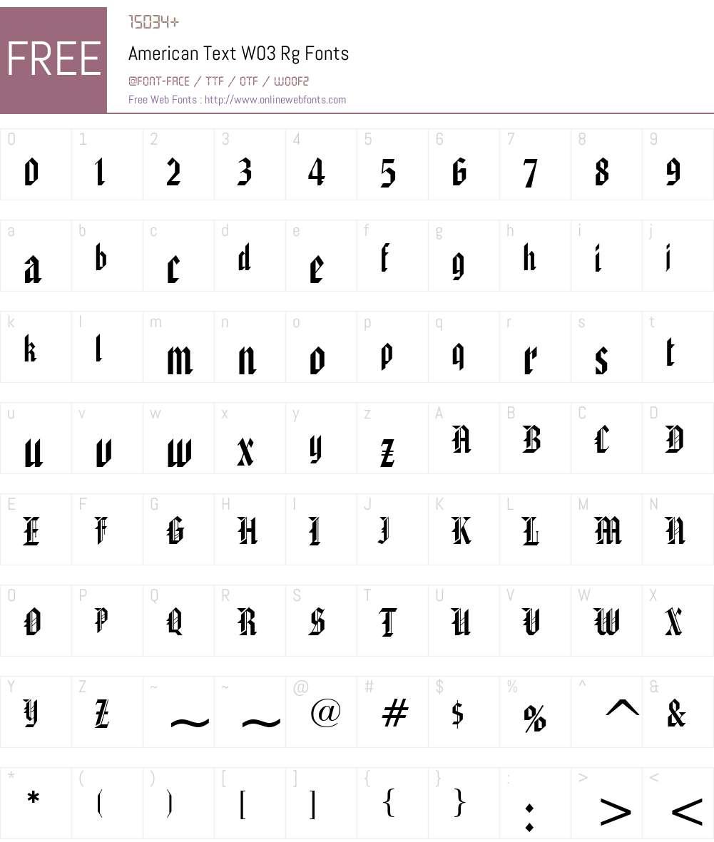 American Text Font Screenshots