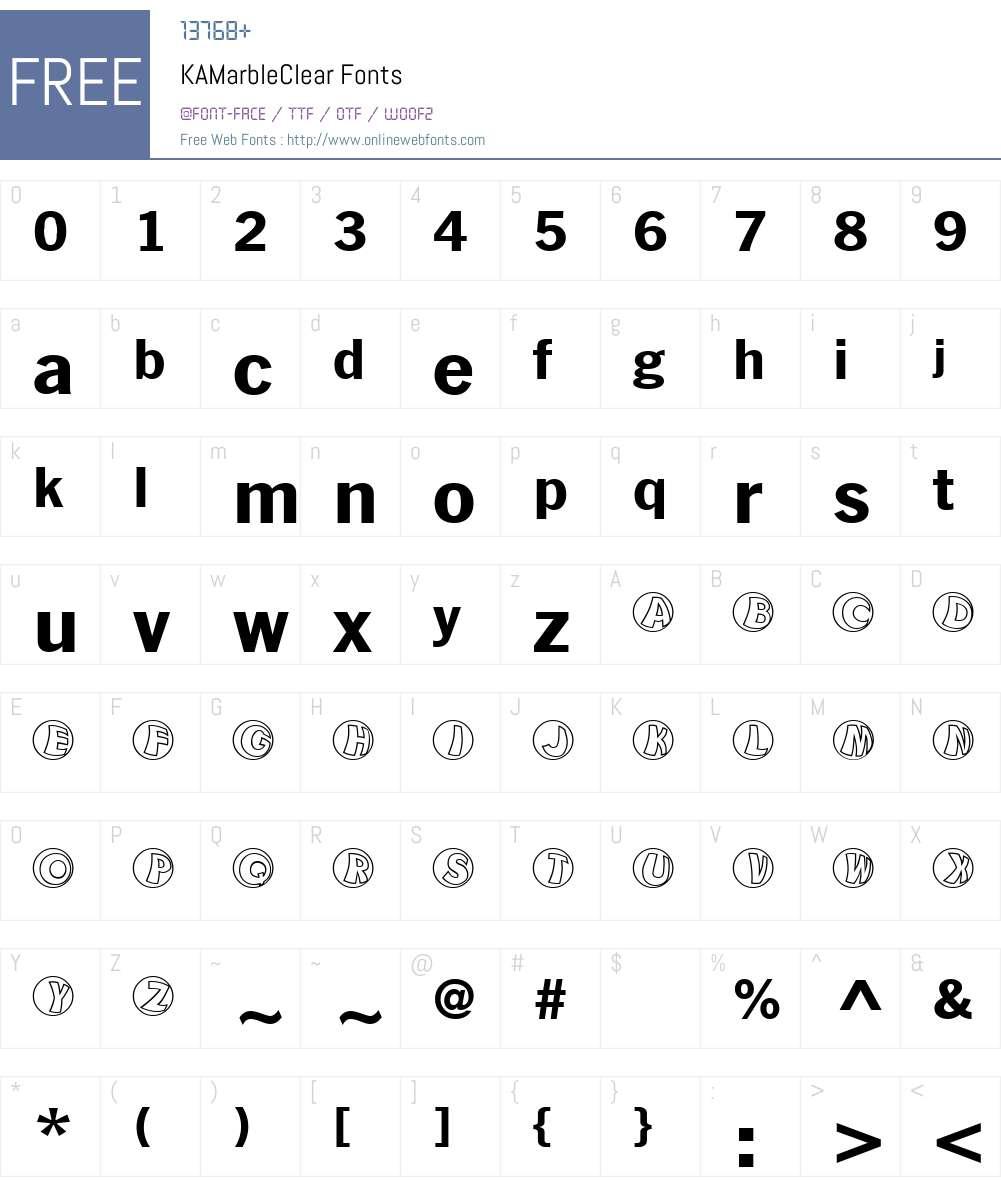 KAMarbleClear Font Screenshots