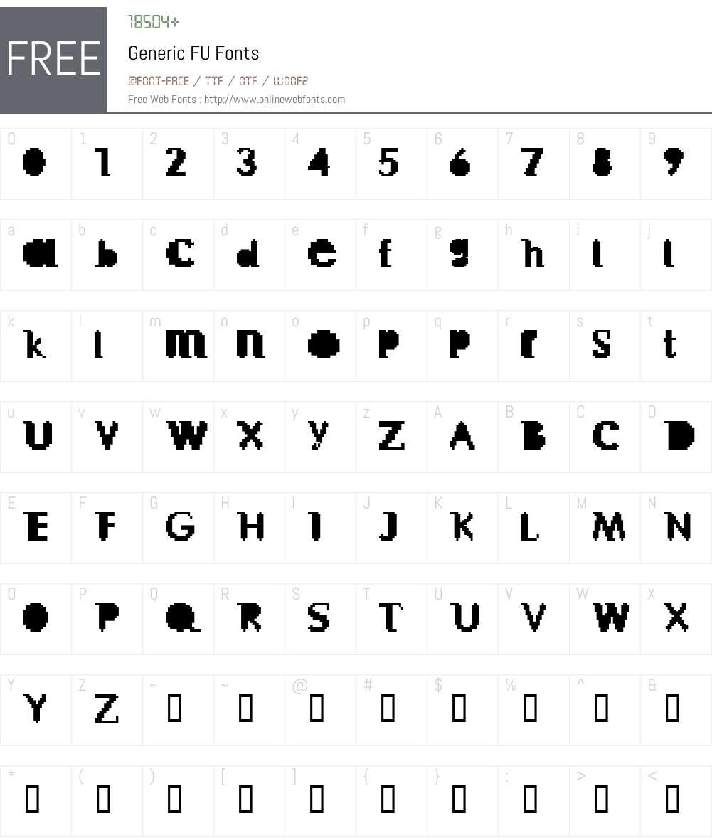 Generic FU Font Screenshots