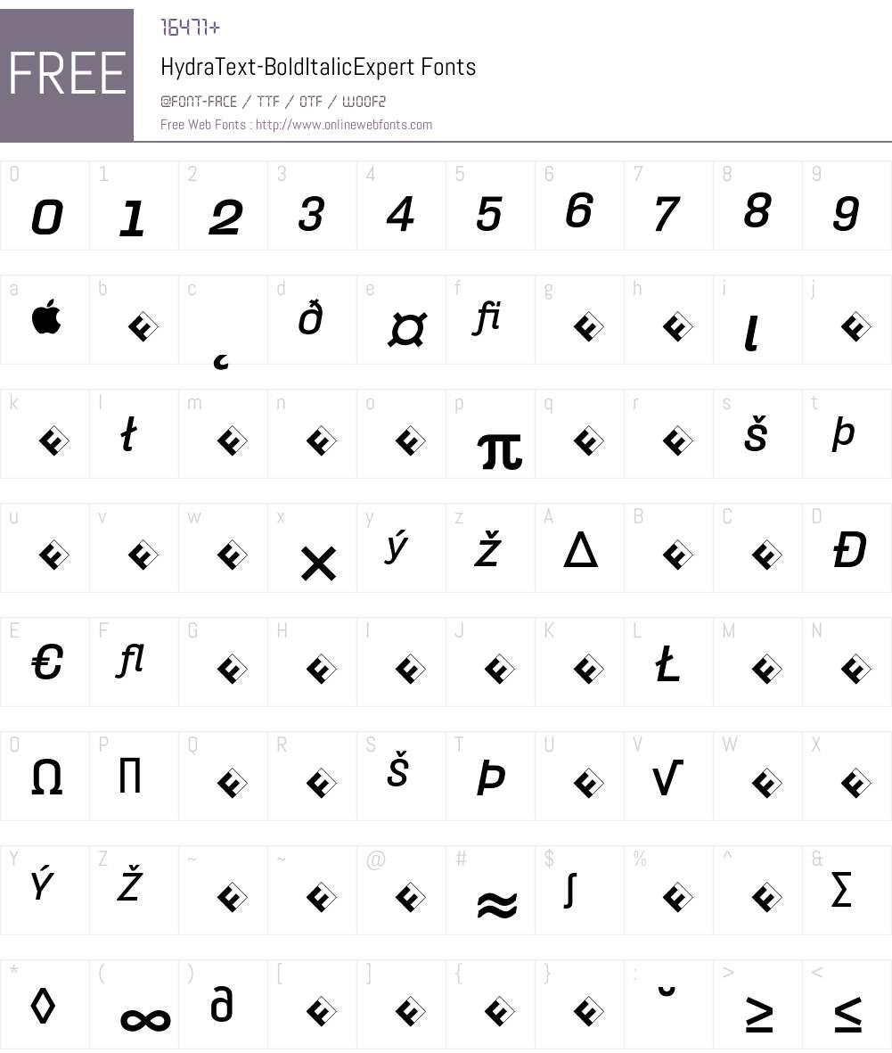 HydraText-BoldItalicExpert Font Screenshots