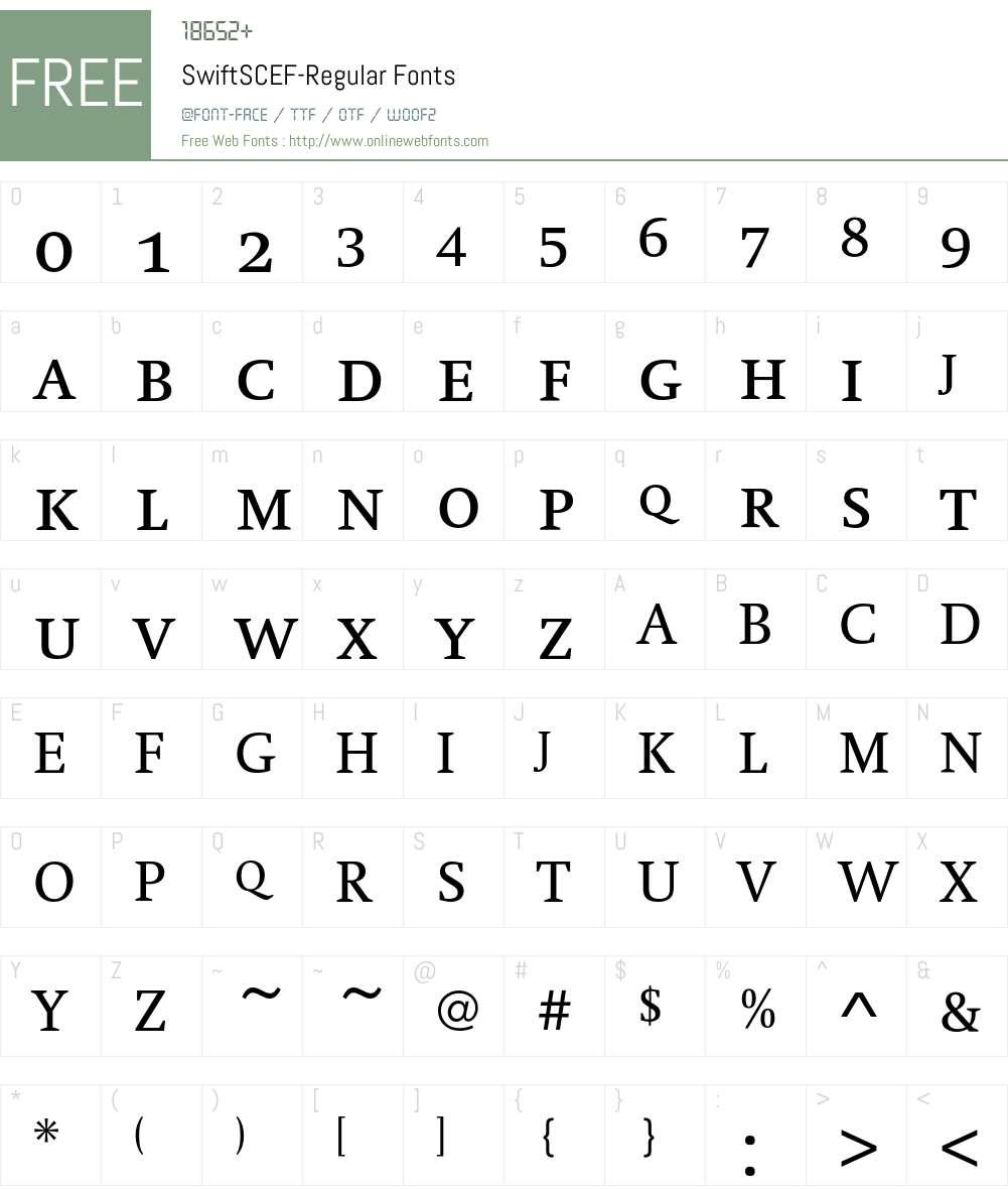 SwiftSCEF Font Screenshots