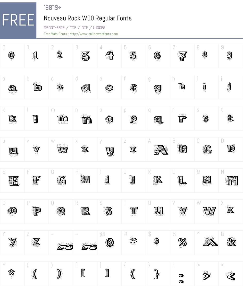 NouveauRockW00-Regular Font Screenshots