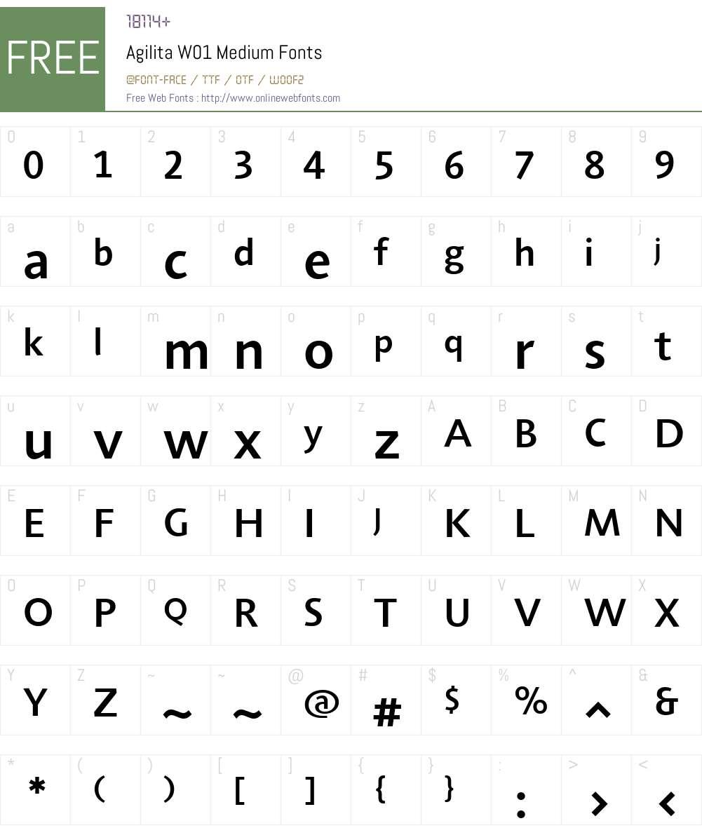 AgilitaW01-Medium Font Screenshots