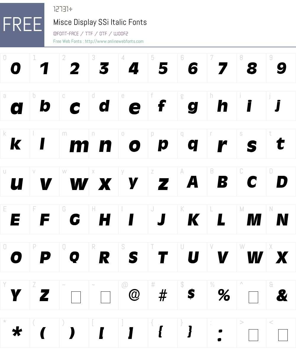 Misce Display SSi Font Screenshots
