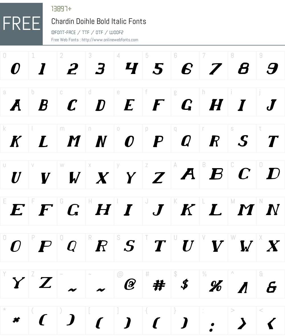 Chardin Doihle Bold Italic Font Screenshots