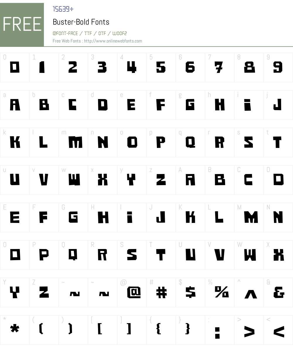 Buster Font Screenshots