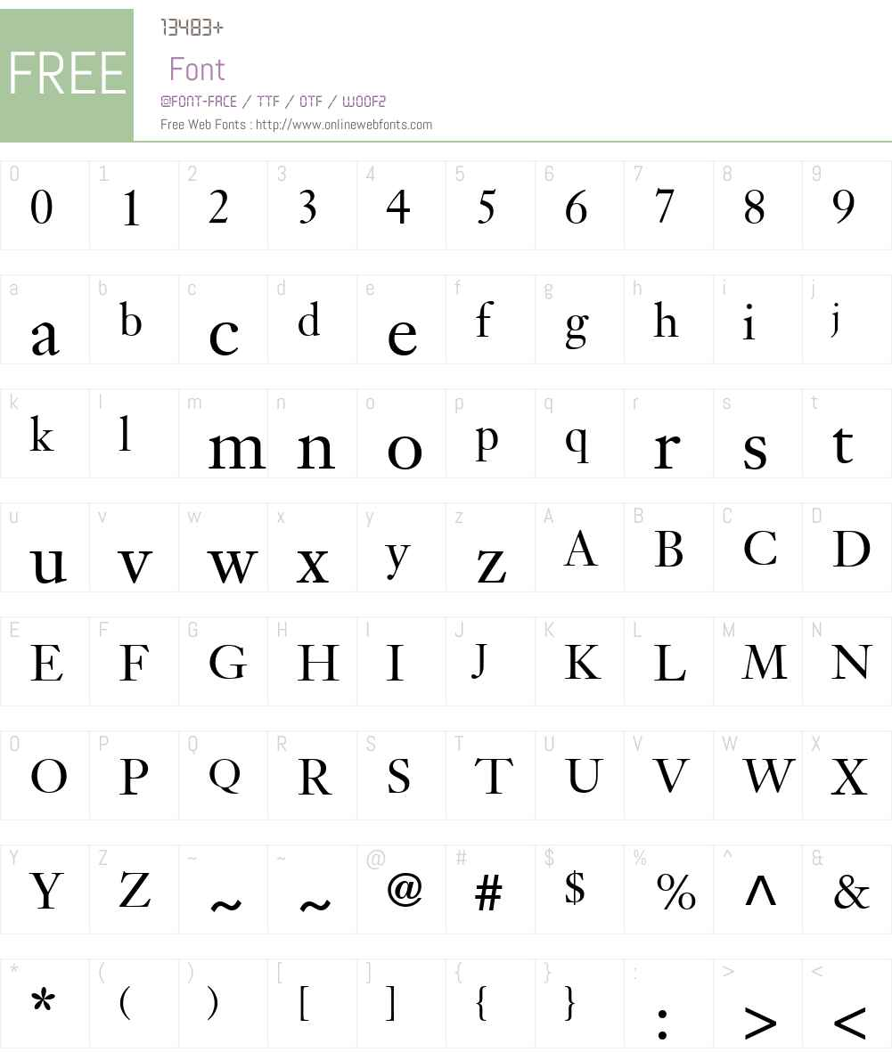 Janson Text Font Screenshots
