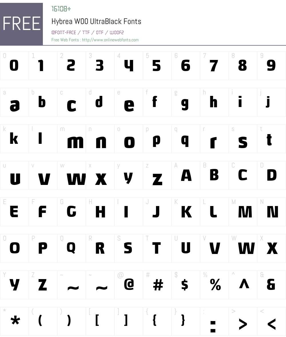 HybreaW00-UltraBlack Font Screenshots
