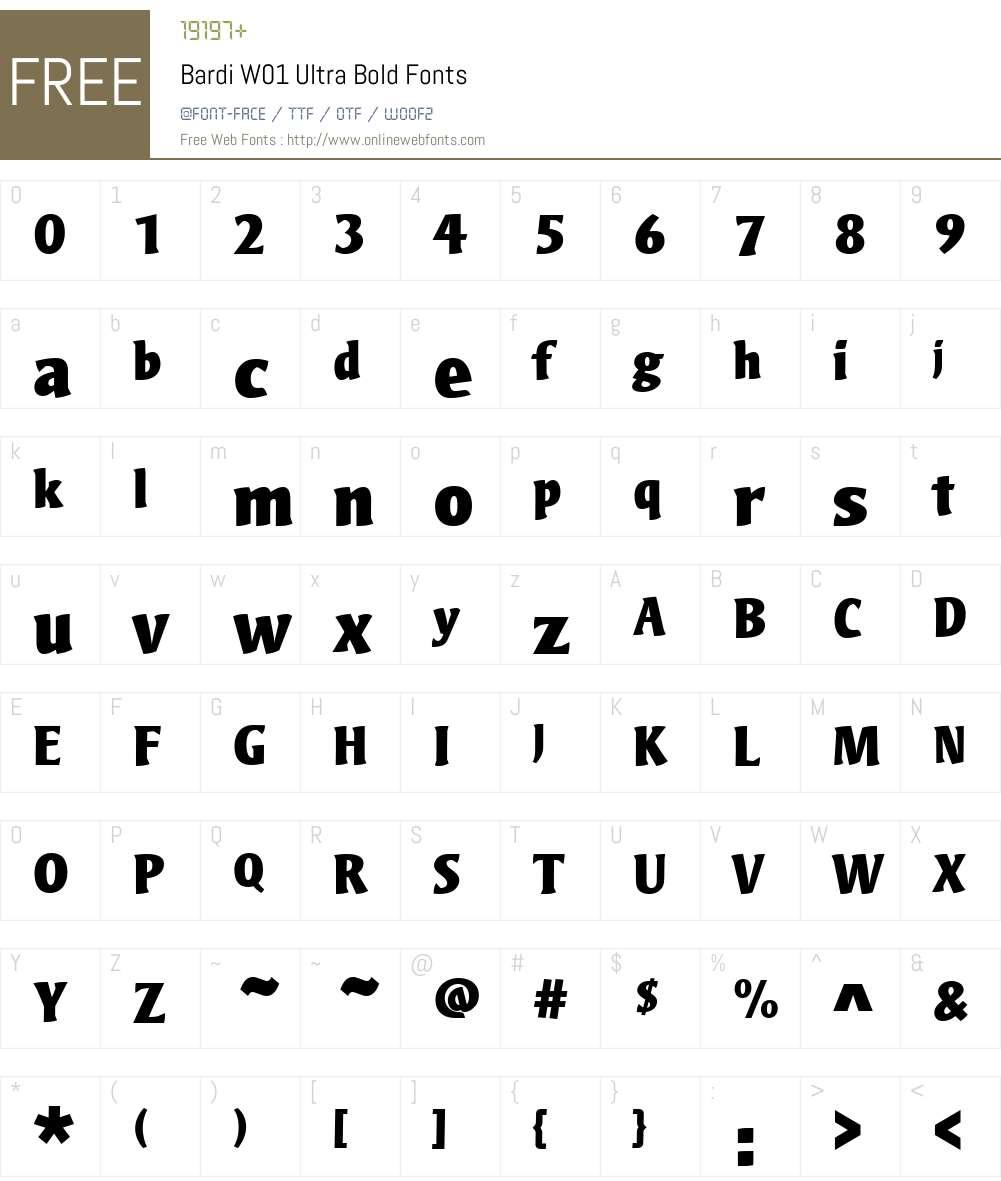 BardiW01-UltraBold Font Screenshots