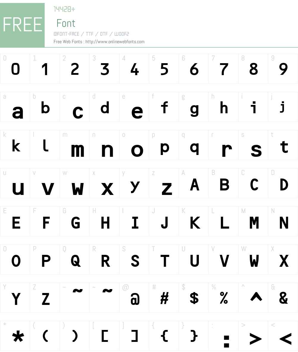 Optical B Font Screenshots