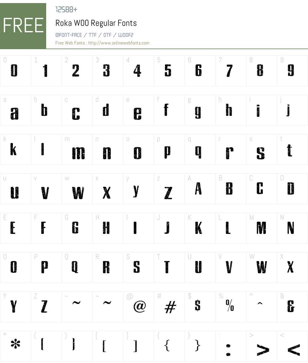 RokaW00-Regular Font Screenshots