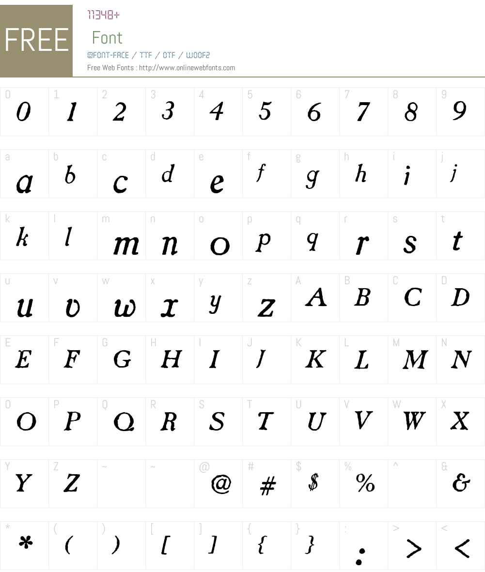 CaslonAntique-Italic Font Screenshots