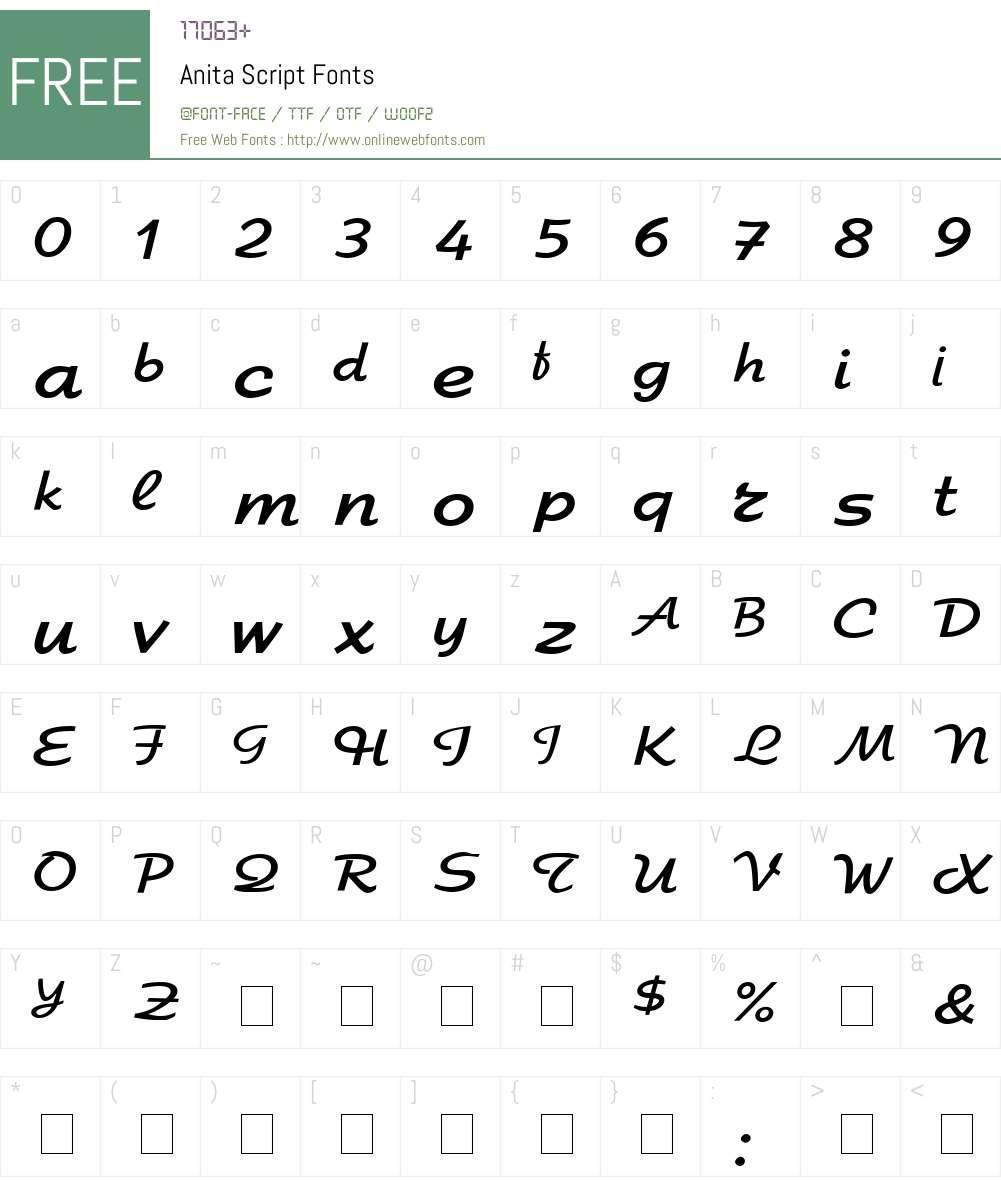 Anita Script Font Screenshots