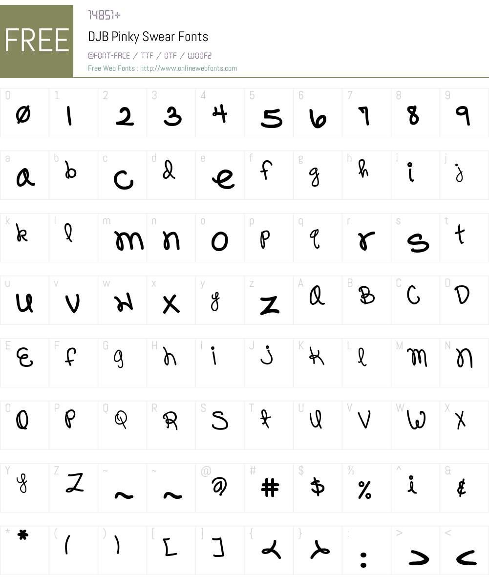 DJB Pinky Swear Font Screenshots