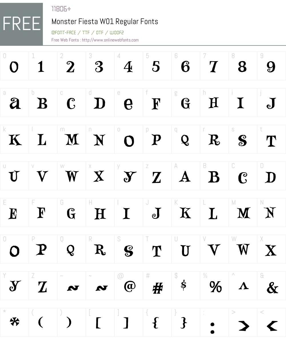 MonsterFiestaW01-Regular Font Screenshots