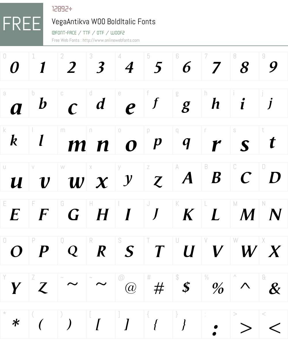 VegaAntikvaW00-BoldItalic Font Screenshots