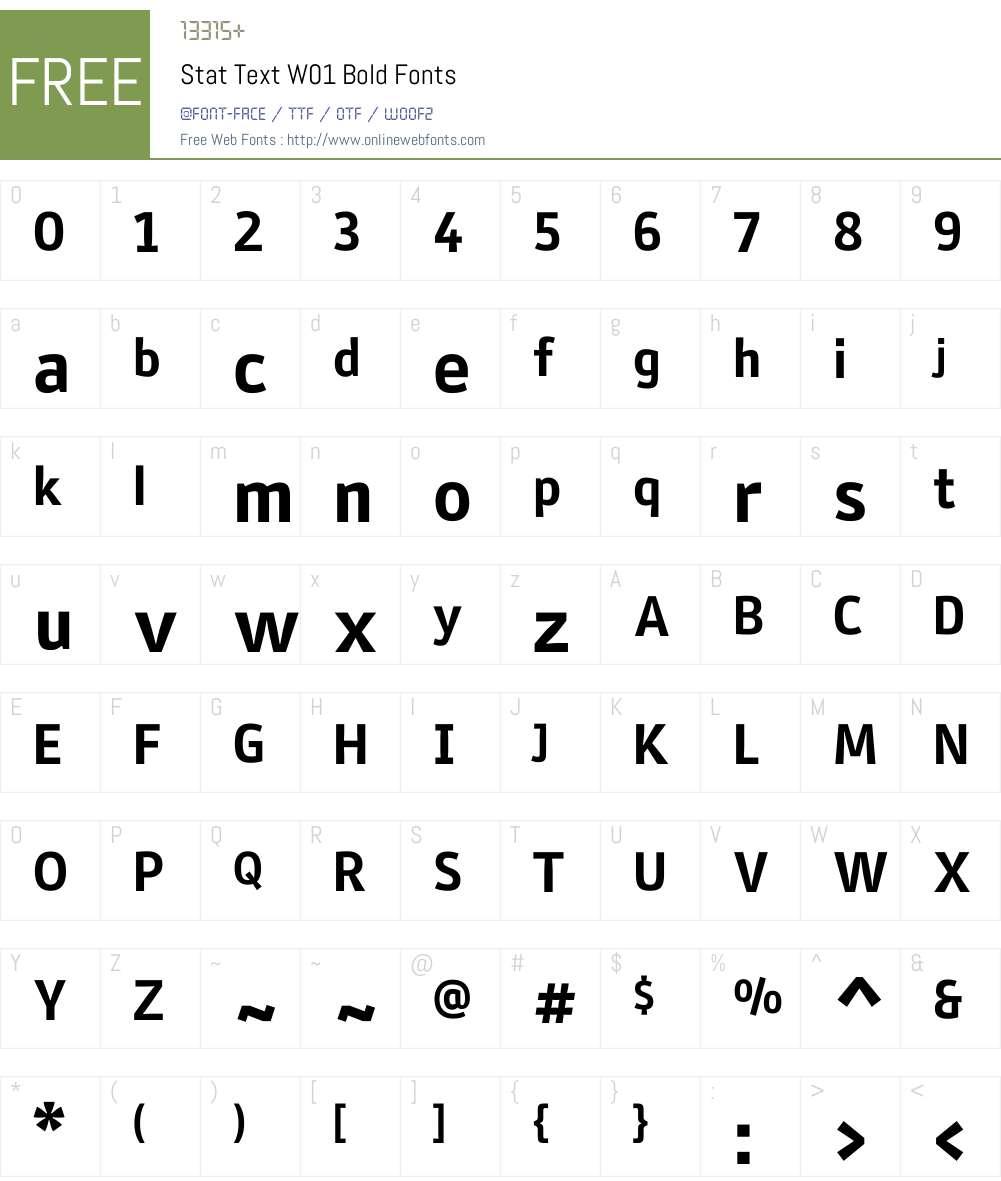 StatTextW01-Bold Font Screenshots