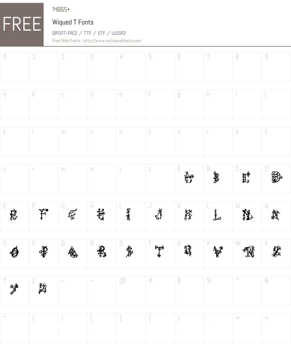 Wiqued T Font Screenshots