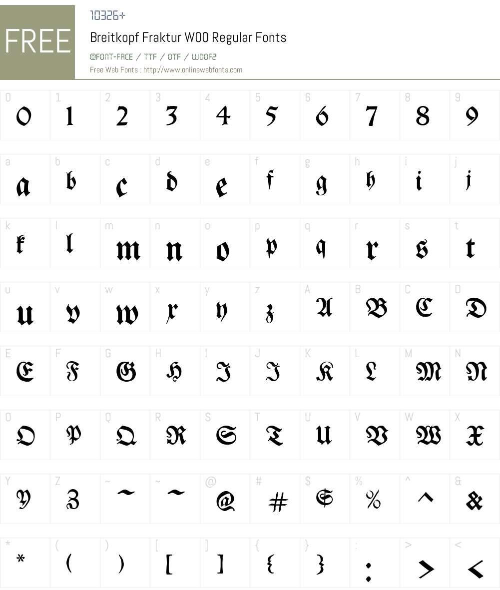 BreitkopfFrakturW00-Regular Font Screenshots