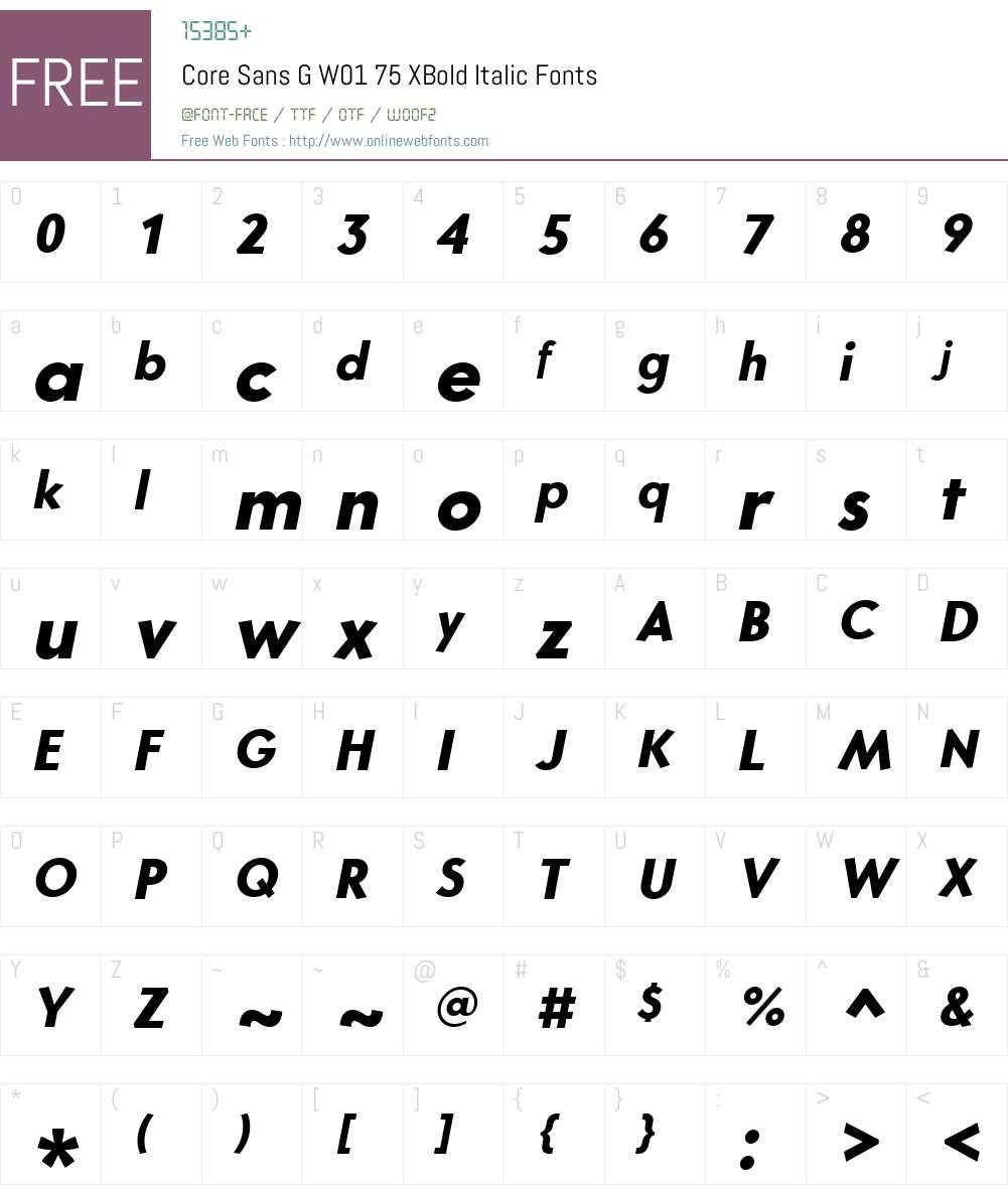 CoreSansGW01-75XBoldItalic Font Screenshots