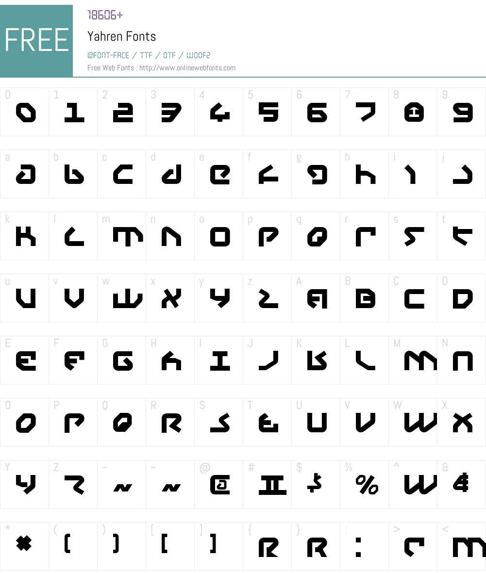 Yahren Font Screenshots