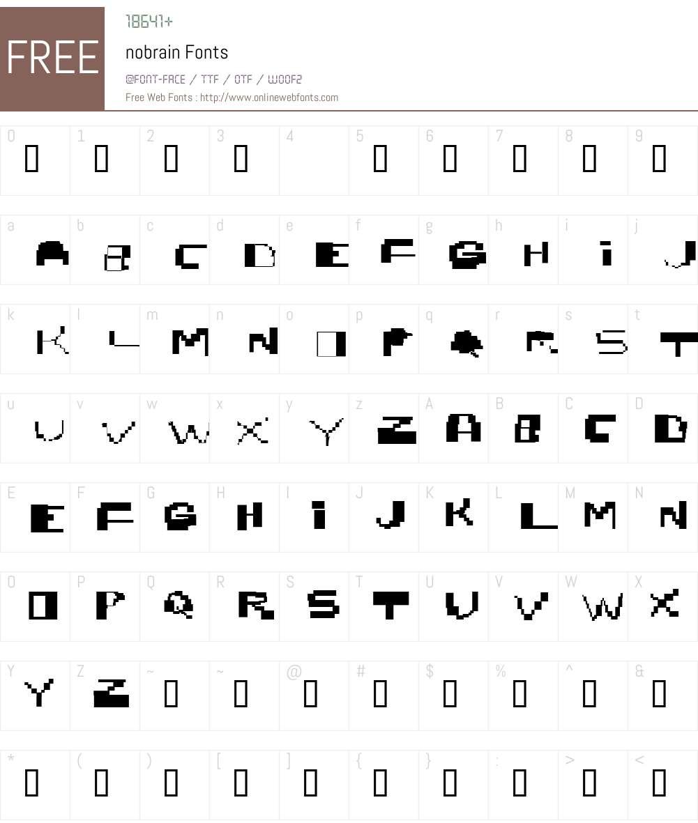 nobrain Font Screenshots