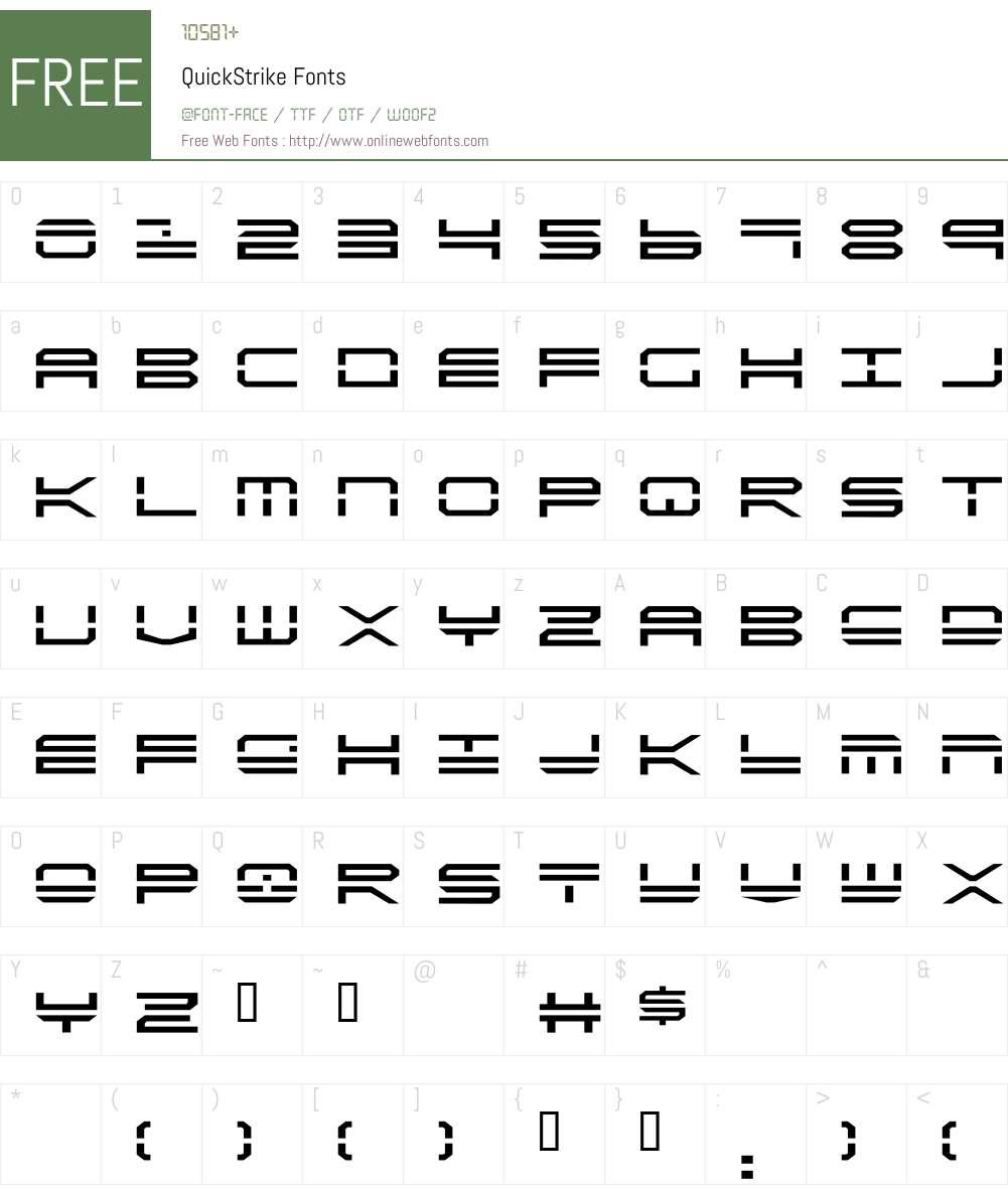 QuickStrike Font Screenshots