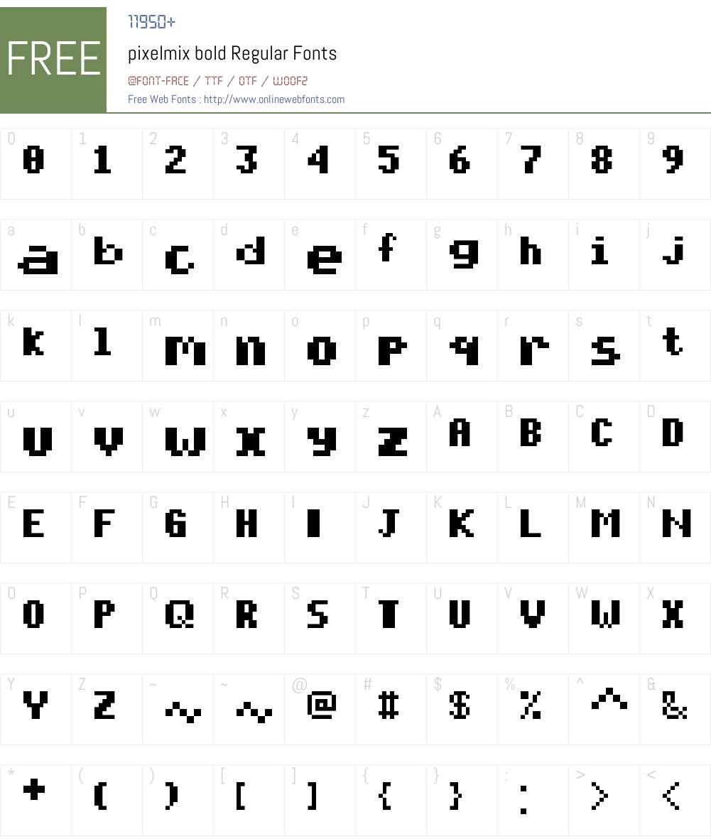 pixelmix bold Font Screenshots