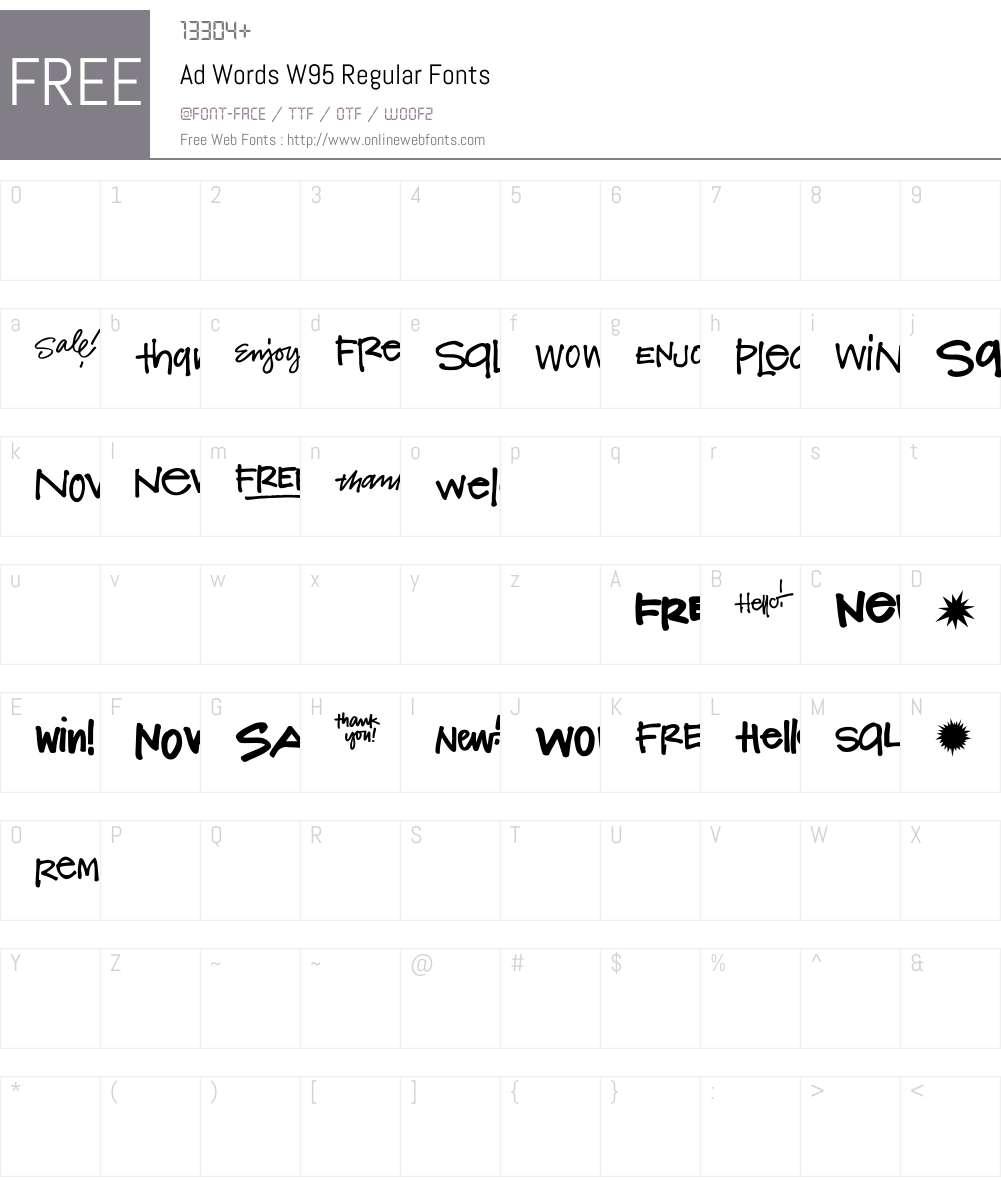 AdWordsW95-Regular Font Screenshots