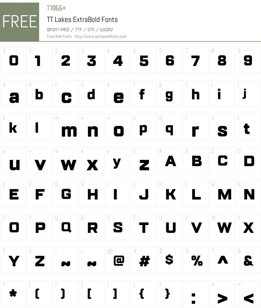 TTLakes-ExtraBold Font Screenshots