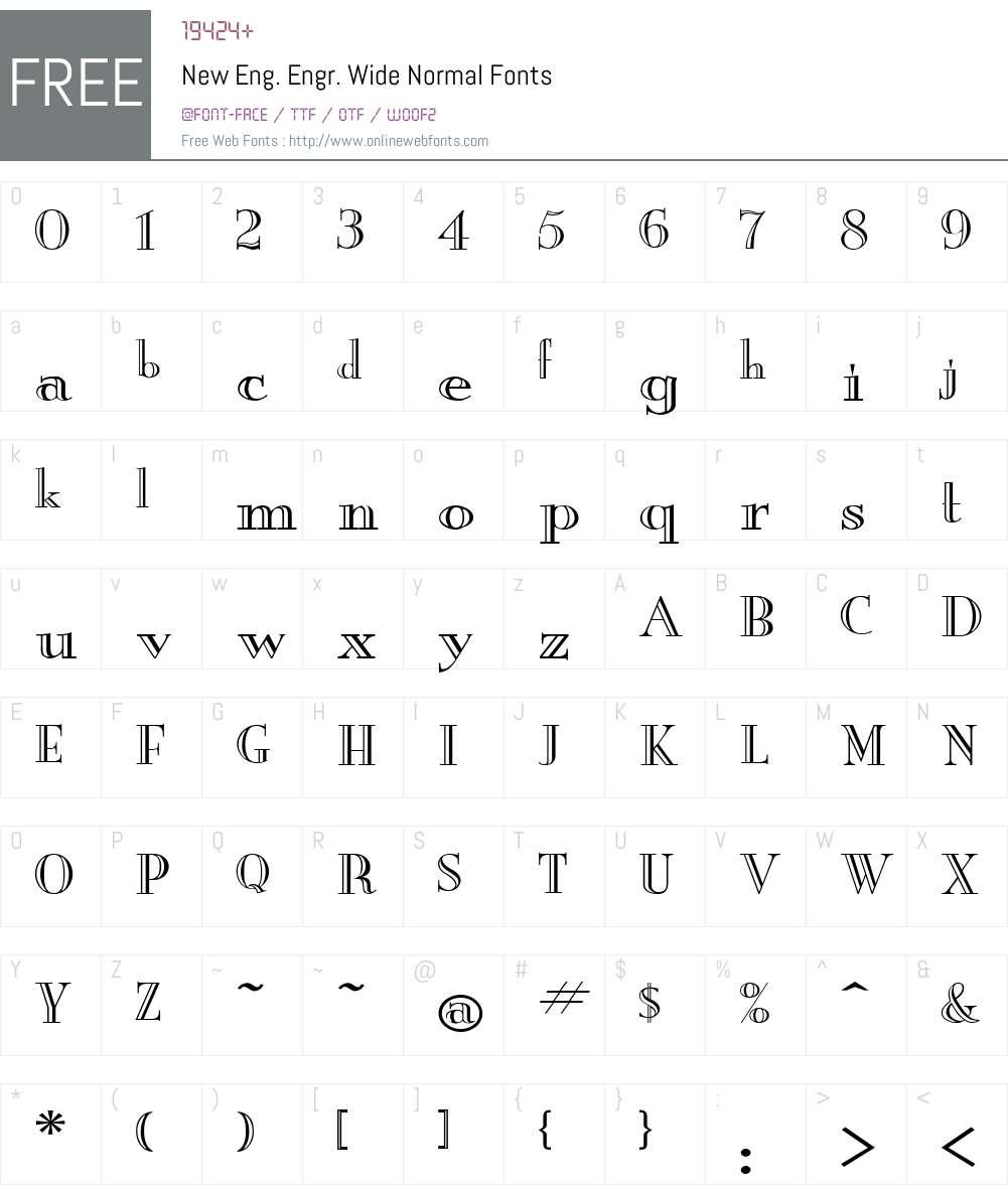 New Eng. Engr. Wide Font Screenshots