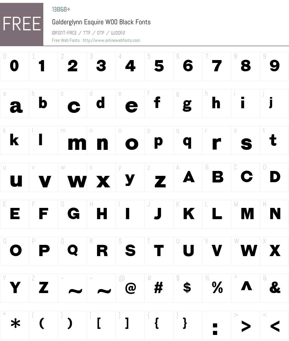 GalderglynnEsquireW00-Blk Font Screenshots