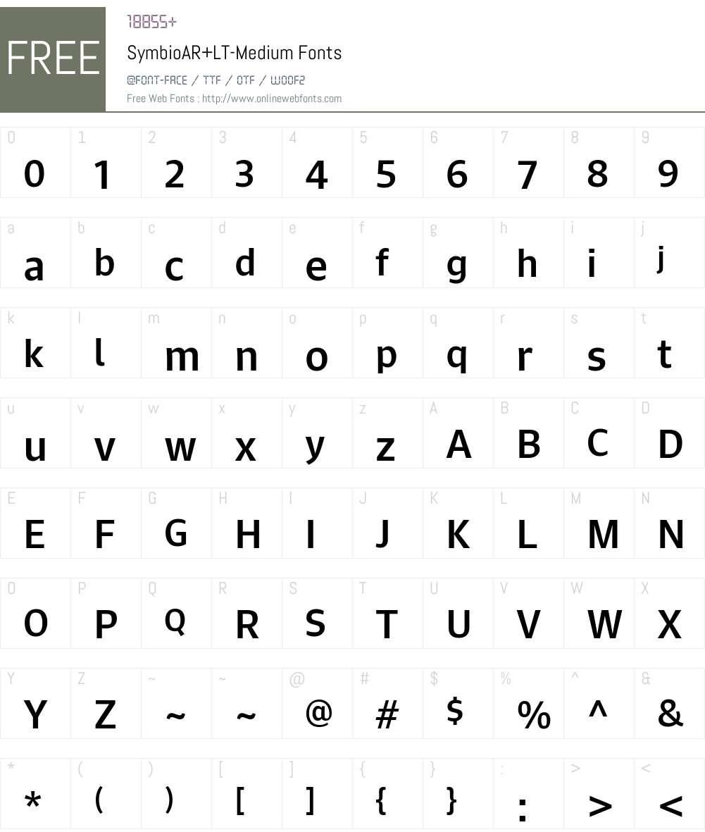 Symbio AR+LT Medium Font Screenshots