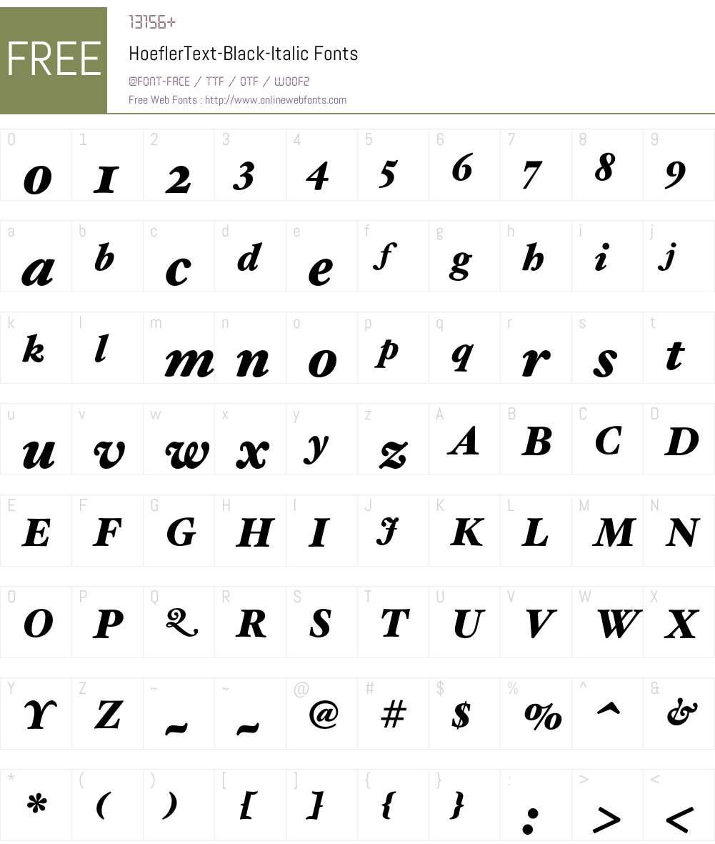 HoeflerText-Black-Italic Font Screenshots