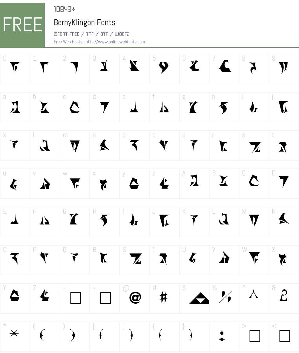 BernyKlingon Font Screenshots