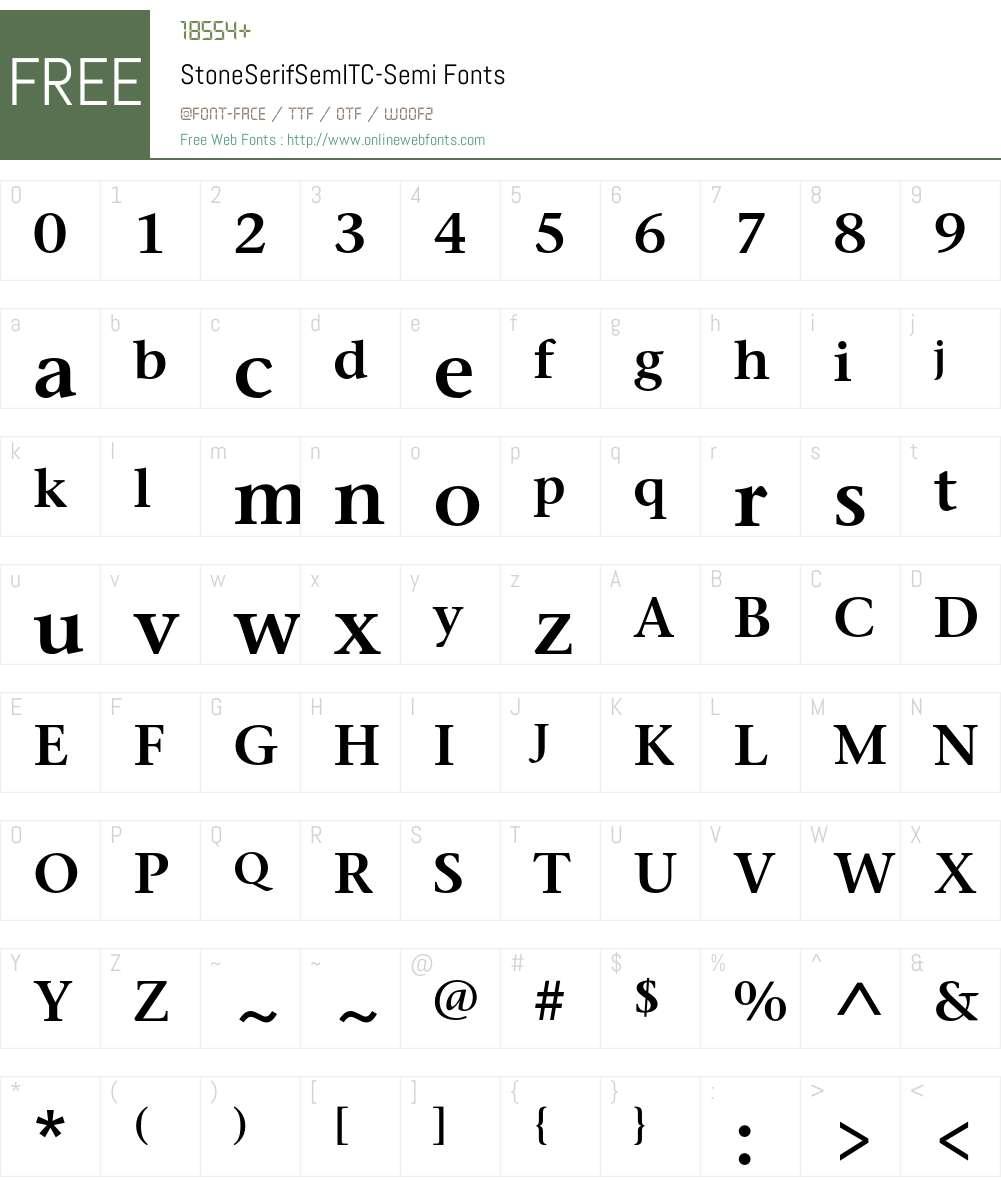 StoneSerifSemITC Font Screenshots