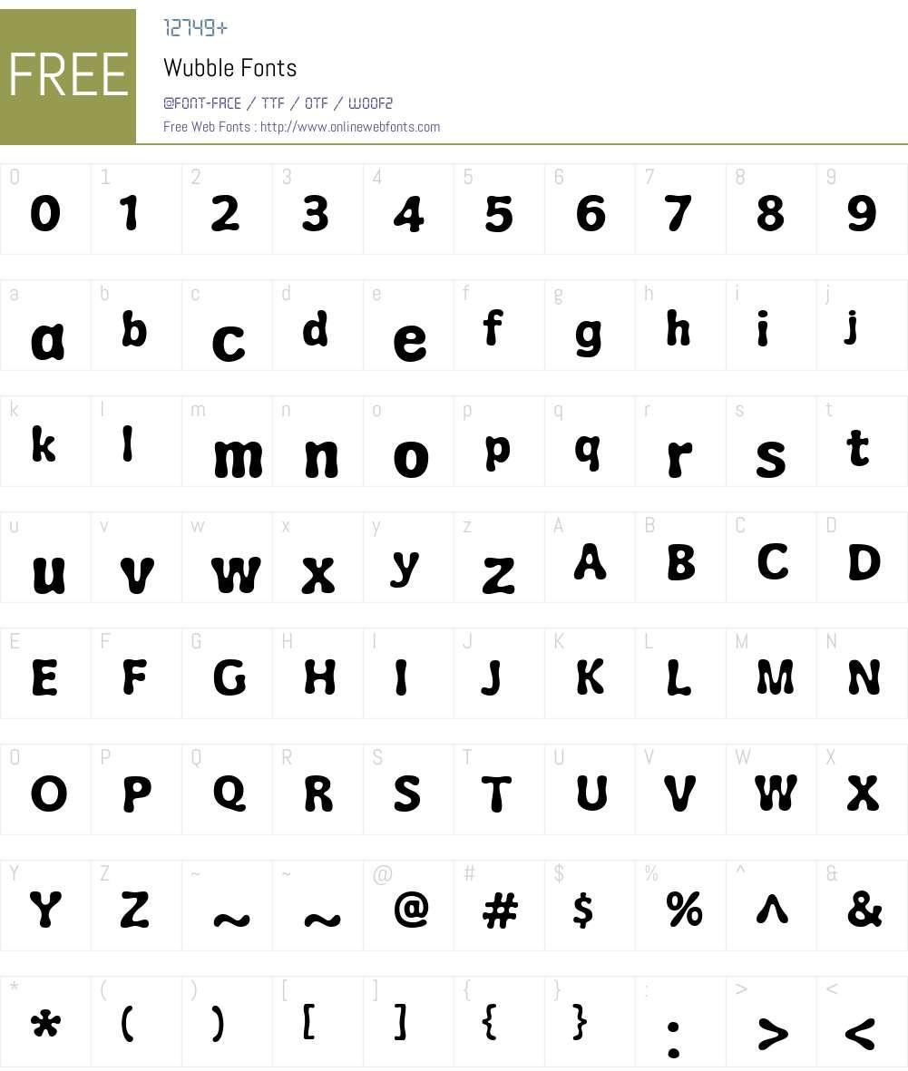 Wubble Font Screenshots