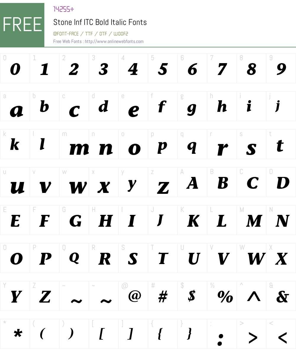 StoneInfITC Font Screenshots