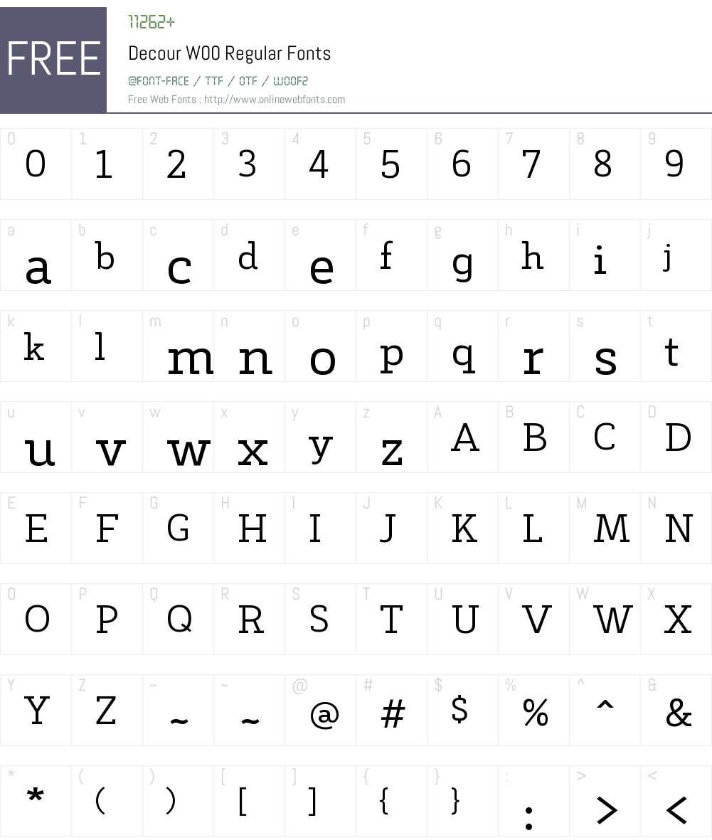DecourW00-Regular Font Screenshots