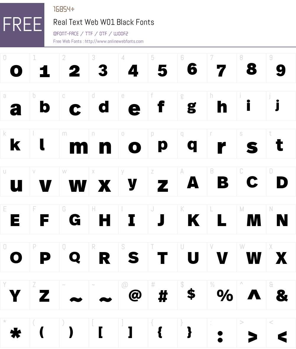 RealTextWebW01-Black Font Screenshots