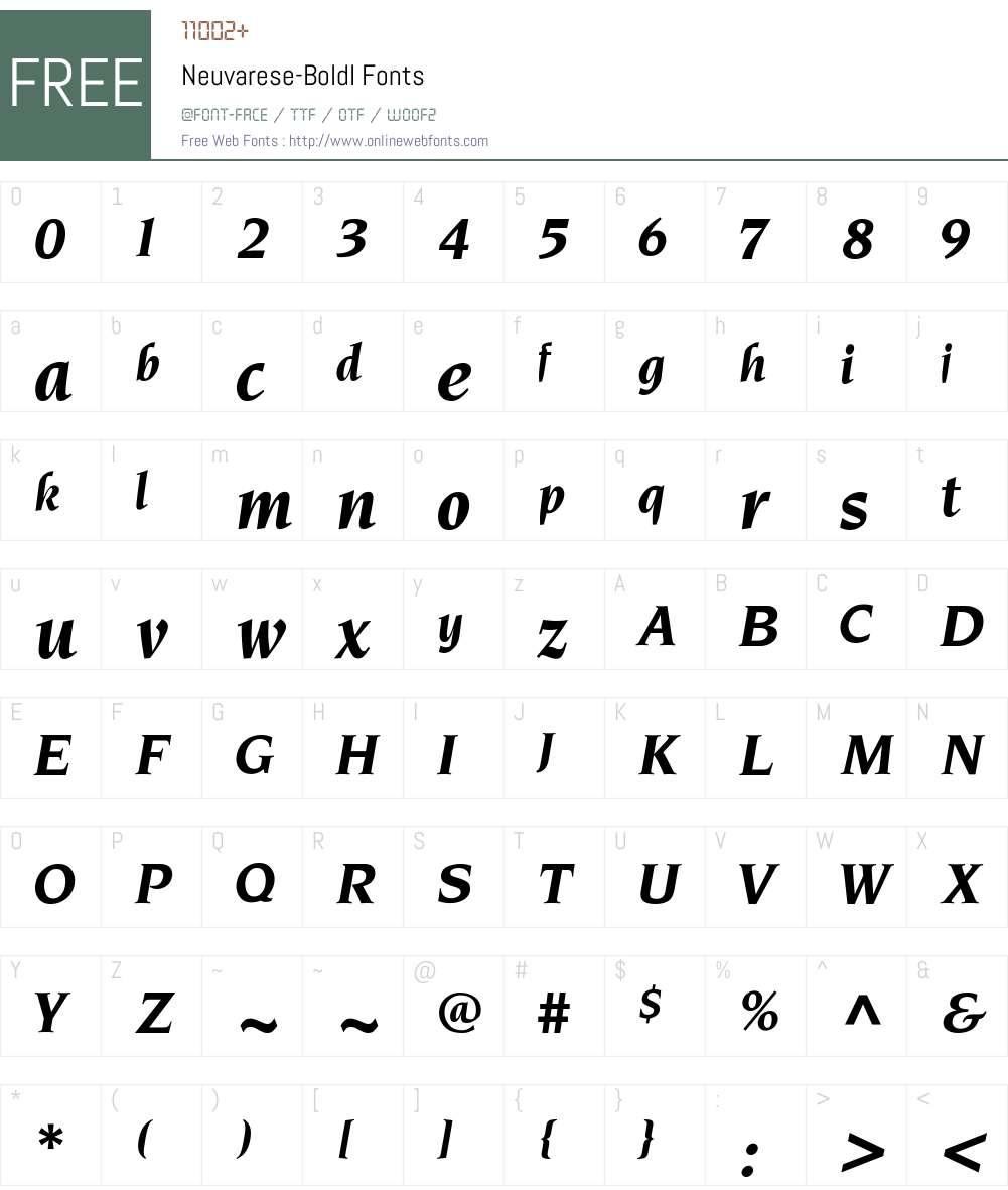 Neuvarese-BoldI Font Screenshots