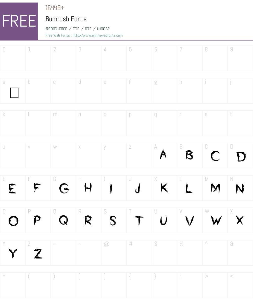 Bumrush Font Screenshots